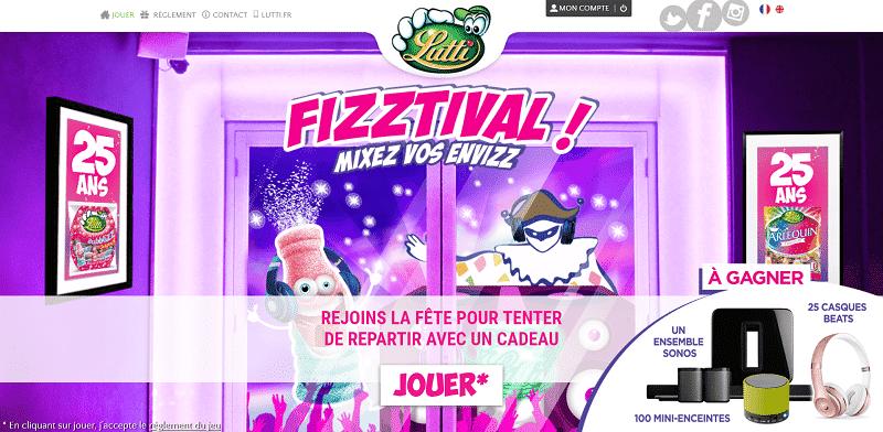 Jeu Fizztival de Lutti - www.fizztival.lutti.fr