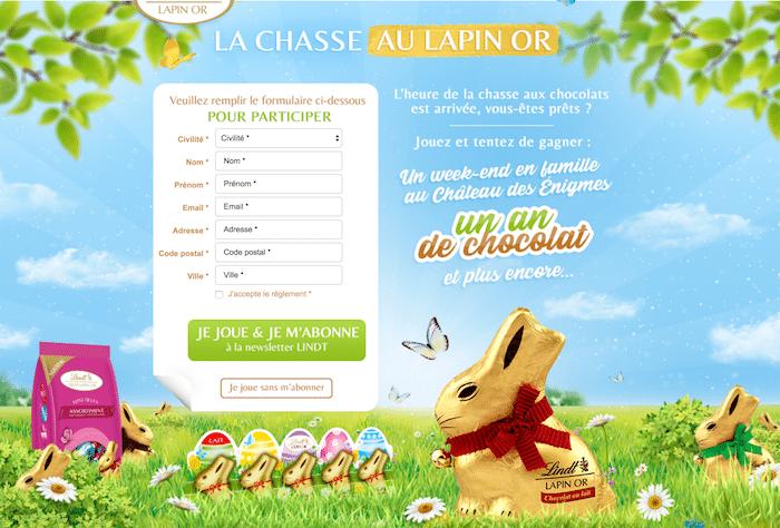 Jeu Lindt La Chasse aux Lapins d'Or - lachasseaulapinor.fr