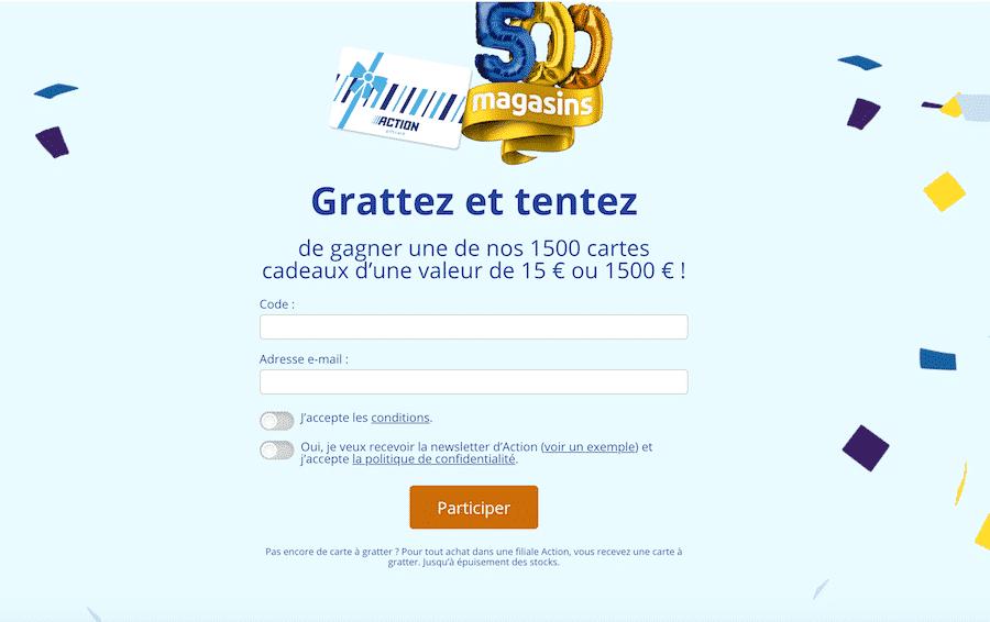 action.com/grattez Action.fr/grattez - Grand jeu code à gratter Action 2020
