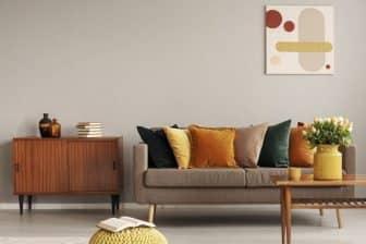 decoration vintage : canapé et coussins