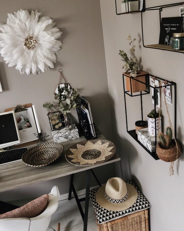 une décoration de bureau faite maison