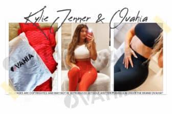 Kylie Jenner en leggings rouge et noir Ovahia