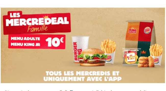 Mercredeal Famille Burger King : Menus adulte + enfant à 10€